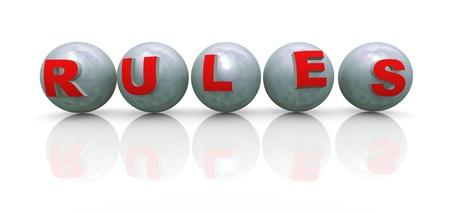 enforce: 3d render of word rule on spheres Stock Photo