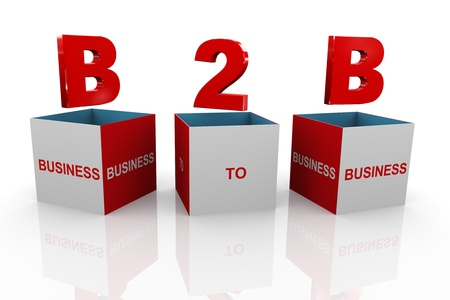 b2e: 3d illustration of acronym b2b business to business box