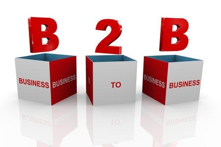 b2b: 3d ilustraci�n de la sigla de negocios B2B de negocios rect�ngulo