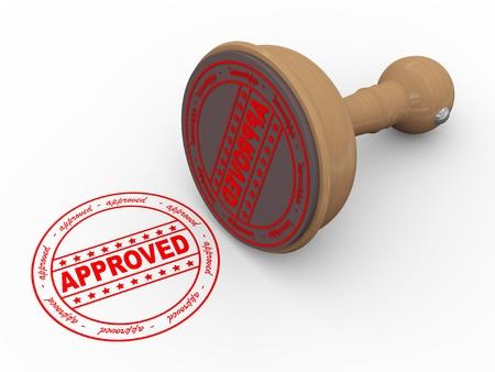 3D-afbeelding van goedgekeurde - houten rubber stempel op een witte achtergrond