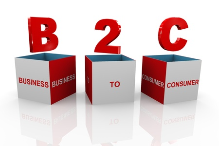 b2e: 3d illustration of acronym b2c business to consumer box