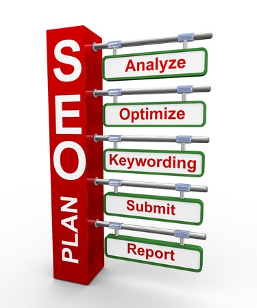 metasearch: 3d illustration of concept of Seo search engine optimization plan representation in modern roadsign signpost style
