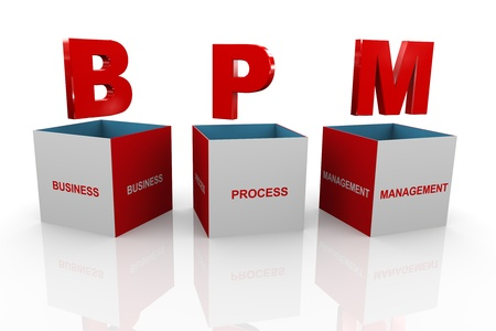 bpm: 3d illustration of acronym bpm business process management box. Stock Photo