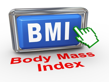 bmi: 3d render of hand cursor pointer click on button with phrase bmi - cbody mass index