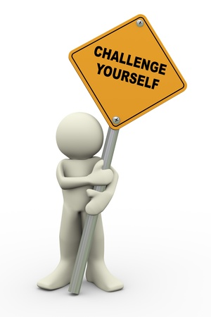motivate: 3d illustration of person holding road sign of challenge yourself. 3d rendering of people human character.
