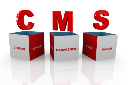 module: 3d illustration of acronym cms content management system Stock Photo