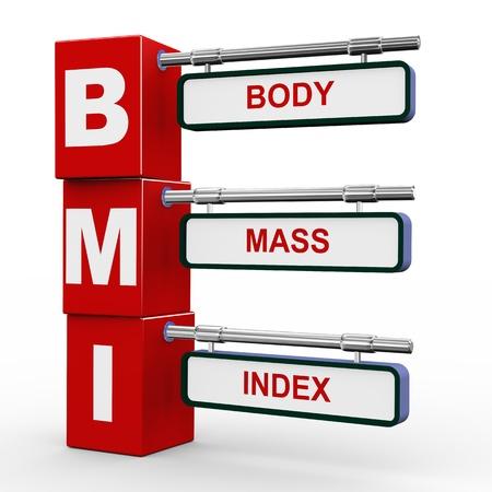 BMI (체질량 지수) 버튼의 현대 roadsign 큐브 푯말의 3d 그림
