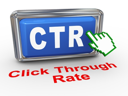 3d render of hand cursor pointer click on button with phrase ctr - cost through rate photo