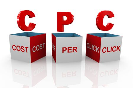 cpc: 3d illustration of acronym cpc cost per click box