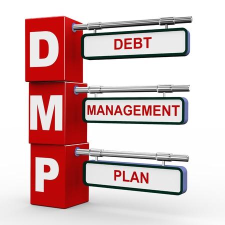 debt management: 3d illustration of modern roadsign cubes signpost of dmp debt management pla