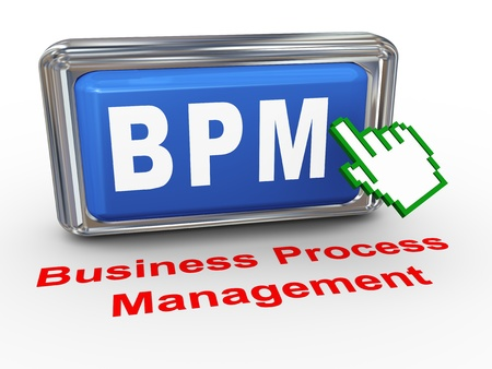 bpm: 3d render of hand cursor pointer click on button with phrase bpm - business process management