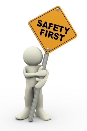 dangerous man: 3d illustration of person holding road sign of safety first  3d rendering of people human character