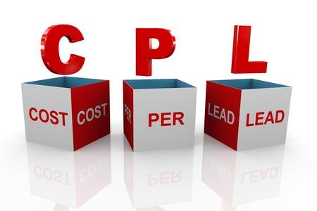 acronym: 3d illustration of acronym cpl cost per lead box