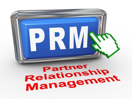 3d render of hand cursor pointer click on button with phrase prm - partner relationship management Stock Photo - 21972830