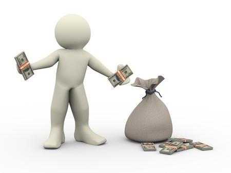 お金袋の人々 - 人間性の 3 d レンダリングで彼の手の地位にドルを保持している人の 3 d イラストレーション 写真素材
