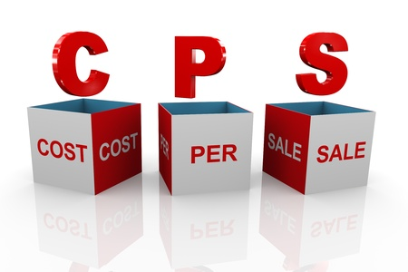 advertiser: 3d illustration of acronym cps cost per sale box
