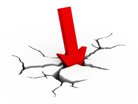 derrumbe: 3d ilustraci�n de colapso flecha roja hacia abajo con detalle grieta tierra que representa el concepto de la crisis financiera y el colapso