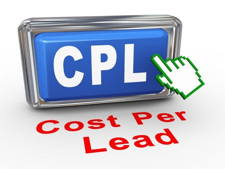 cpl: 3d render of hand cursor pointer click on button with phrase cpl - cost per lead