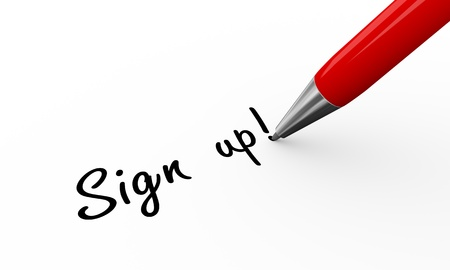 signing document: 3d render of pen writing sign up on white paper background