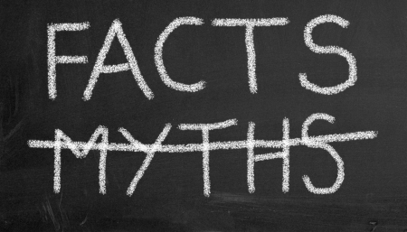 in fact: Illustration of chalkboard with text facts and crossed myths Stock Photo