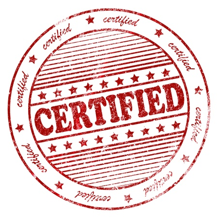 Illustration of grunge rubber stamp with the word certified illustration