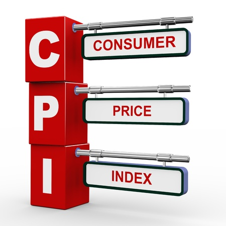 economists: 3d illustration of modern roadsign cubes signpost of cpi consumer price index  Stock Photo