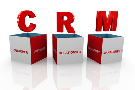 crm: 3d illustration of acronym crm - customer relationship management box  Stock Photo
