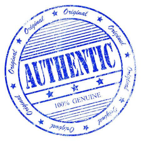 official symbol: Illustration of blue grunge rubber stamp with the word authentic 100  original and genuine