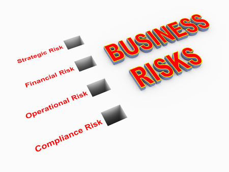 pitfall: 3d illustration of classification of various business risk  Stock Photo