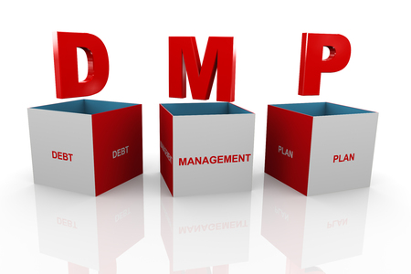 debt management: 3d illustration of acronym dmp debt management plan box  Stock Photo