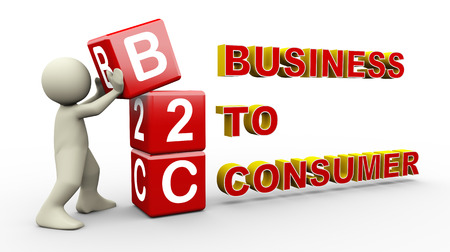 b2c: 3d illustration of person placing b2c - business to consumer cubes   3d rendering of people - human character  Stock Photo