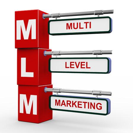 multi level: 3d illustration of modern roadsign cubes signpost of mlm - multi level marketing