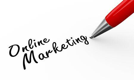 ballpen: 3d render of a pen writing online marketing on white paper background Stock Photo