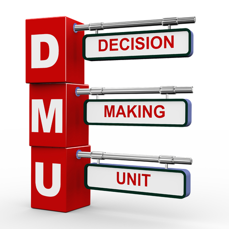 3d illustration of modern roadsign cubes signpost of dmu decision making unit button illustration