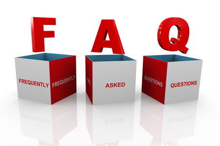 acronym: 3d illustration of acronym faq - frequently asked questions box  Stock Photo