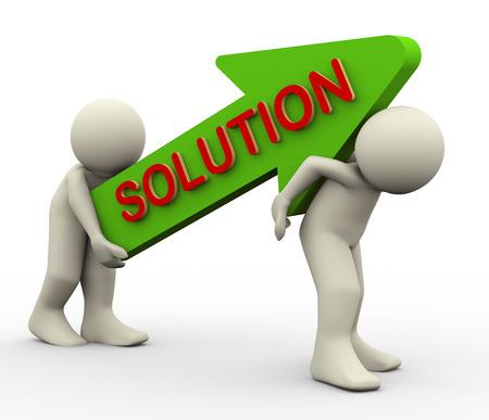 チームワーク、問題解決、挑戦、目標達成の概念を表すテキストのソリューションと矢印を運んでの男性の 3 d イラストレーション ヘルプし、サポ