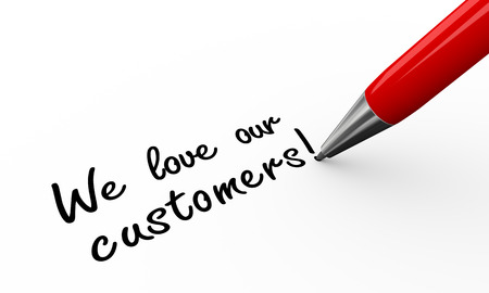 our: 3d render of pen writing we love our customers on white paper background Stock Photo