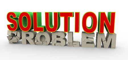 quandary: 3d illustration of word solution over cracked and demolished word problem  Concept of solution for problem, help, support
