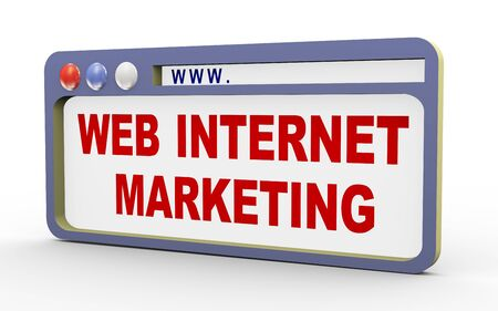 marketshare: 3d illustration of internet browser with phrase web internet marketing  Stock Photo