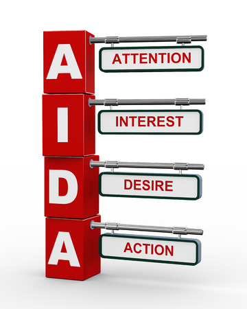 in action: 3d illustration of modern roadsign cubes signpost of aida  attention, interest, desire, action  marketing concept