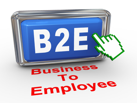 b2e: 3d render of hand cursor pointer click on button with phrase b2e - business to employee