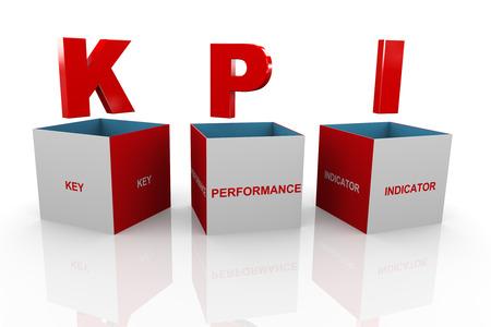 kpi: 3d illustration of acronym kpi Key Performance Indicator box
