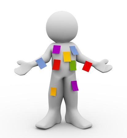 Ilustración 3D de la persona con diferentes notas adhesivas en blanco. Concepto de multitarea. Las 3D de la gente - carácter humano.