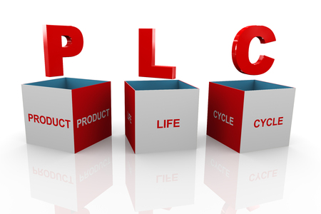3d illustration of acronym plc Product Life cycle box illustration