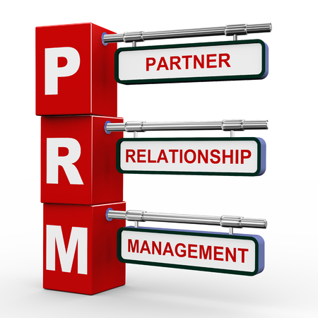 interacting: 3d illustration of modern roadsign cubes signpost of prm - partner relationship management Stock Photo