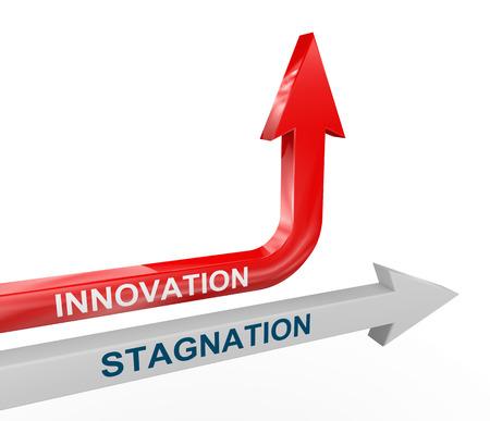 停滞と変化する上向きイノベーション矢の 3 d レンダリング。変更、イノベーション、創造性、ボックス思考からの概念。