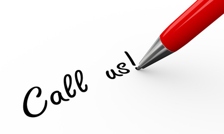formal signature: 3d render of pen writing call us on white paper background Stock Photo