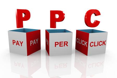 acronym: 3d illustration of acronym ppc pay per click Stock Photo