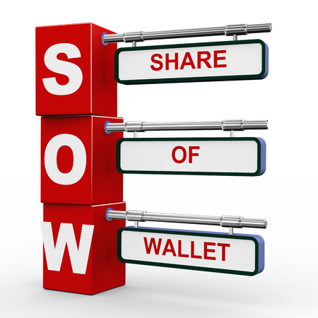 sow: 3d illustration of modern roadsign cubes signpost of sow - share of wallet Stock Photo
