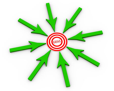 group direction: 3d illustration of arrows in circular shape pointing to target having word goal